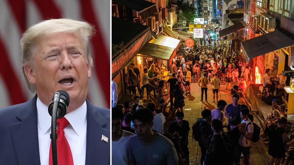 Donald Trump kritiserade Kina med skarpa ordalag efter beskedet om den nya säkerhetslagen.