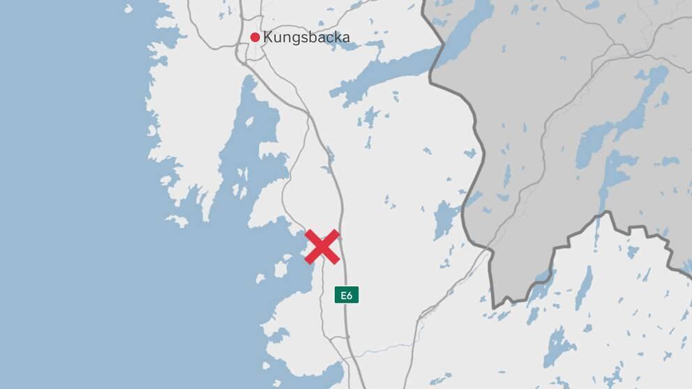 Karta över norra Halland med ett kryss vid Frillesås