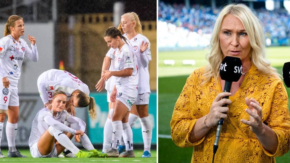 Frida Östberg (till höger) fruktar att det kan bli slitna damallsvenska spelare i år.