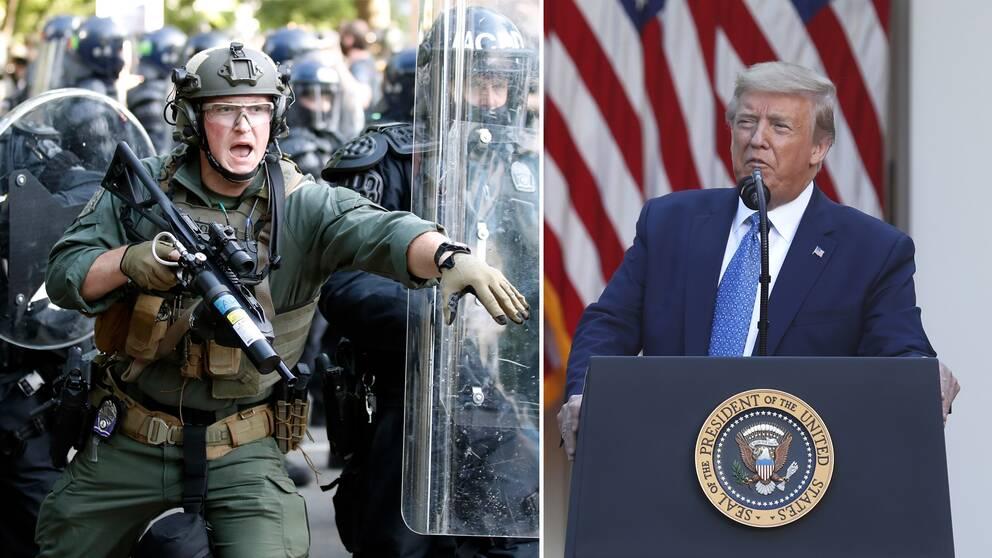 Donald Trump talade utanför Vita Huset kort efter att polisen skjutit tårgas mot demonstranter inte långt därifrån.