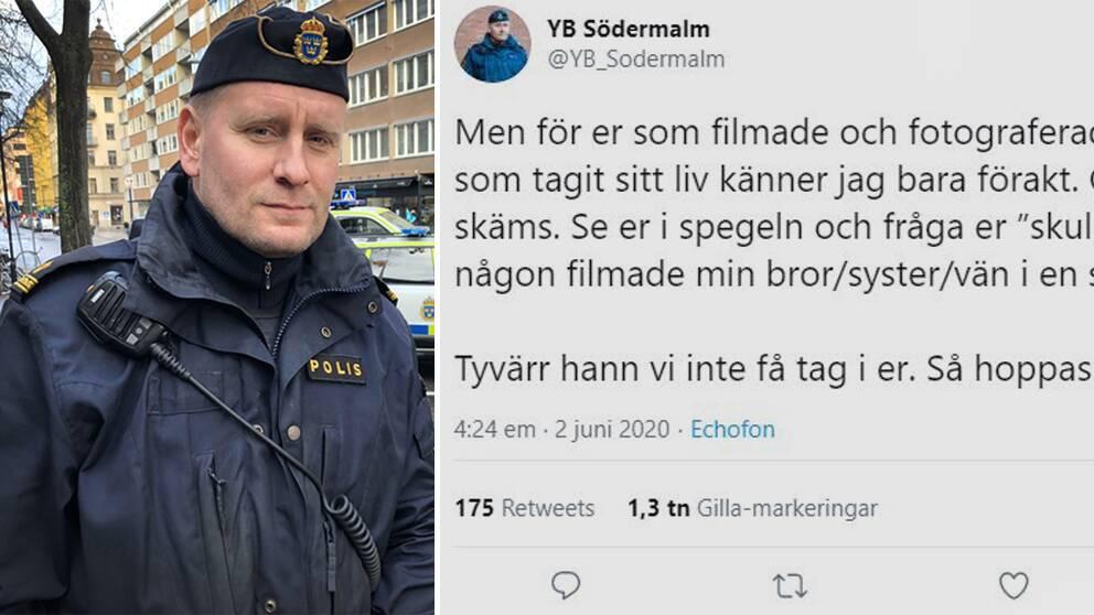 Södermalmspolisen Viktor Adolphson twittrade om de förbipasserande som stannade och filmade.