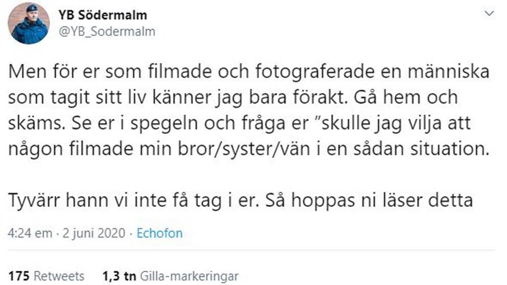Viktor Adolphsons tweet om de förbipasserande som stannade och filmade.