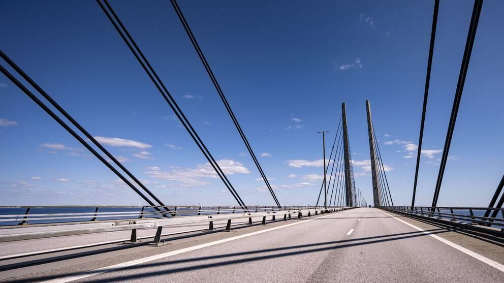 På bilden syns Öresundsbron från april 2020.