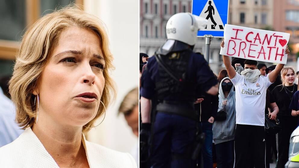 Kravallpoliser stoppade demonstranter nedanför slottet vid Norrbro i Stockholm på onsdagskvällen. Montage med Strandhäll och demonstranter.