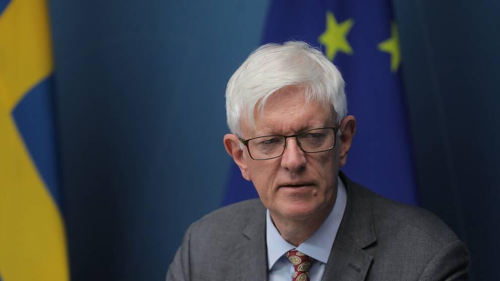 Folkhälsomyndighetens generaldirektör Johan Carlson vid pressträffen om ändringar i reserestriktionerna.