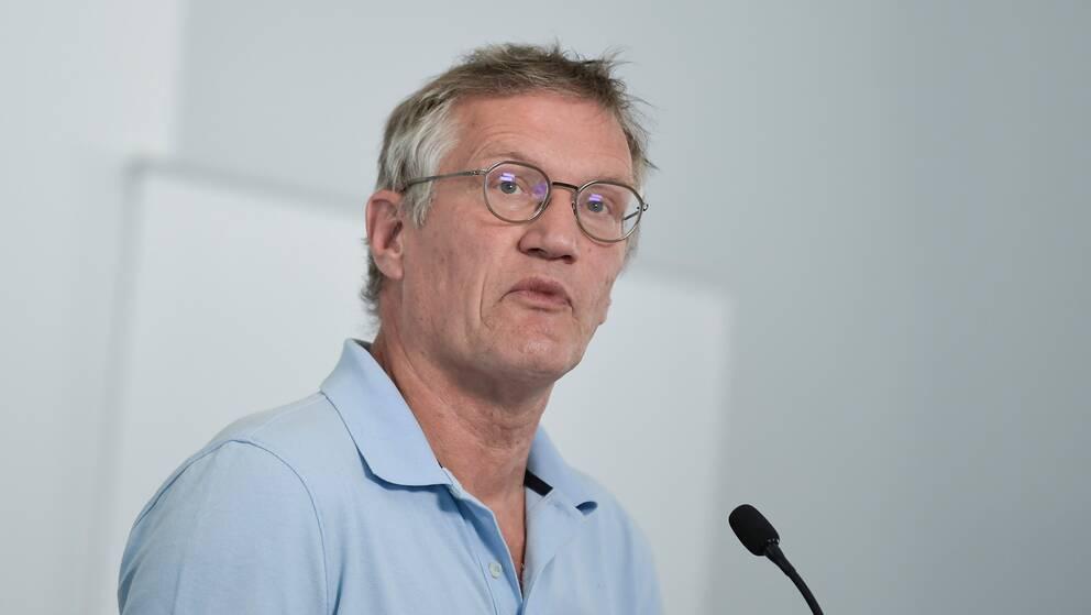 Anders Tegnell, statsepidemiolog, Folkhälsomyndigheten, under torsdagens dagliga myndighetsgemensamma pressträff om om covid-19.