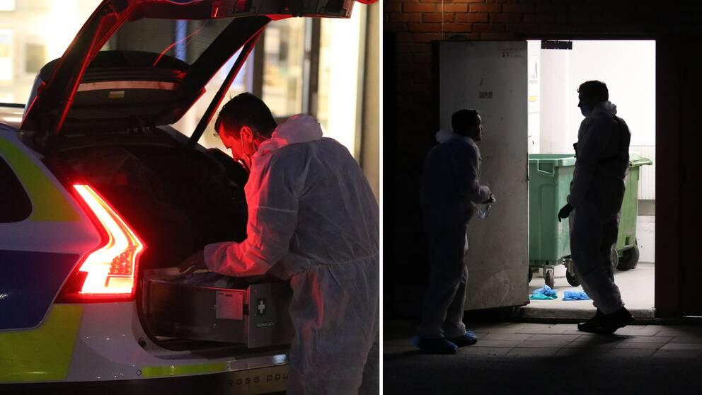 Under torsdagskvällen letade polisen både i soprum och andra utrymmen runt fastigheten.