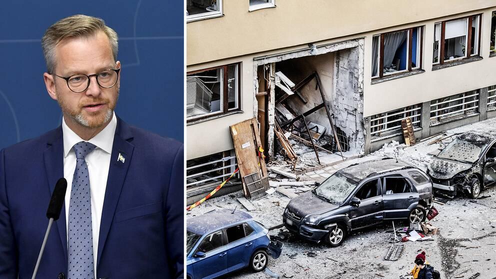 Bild på Mikael Damberg (S) och bild på förödelse efter en sprängning vid ett flerfamiljshus på Östermalm i Stockholm.