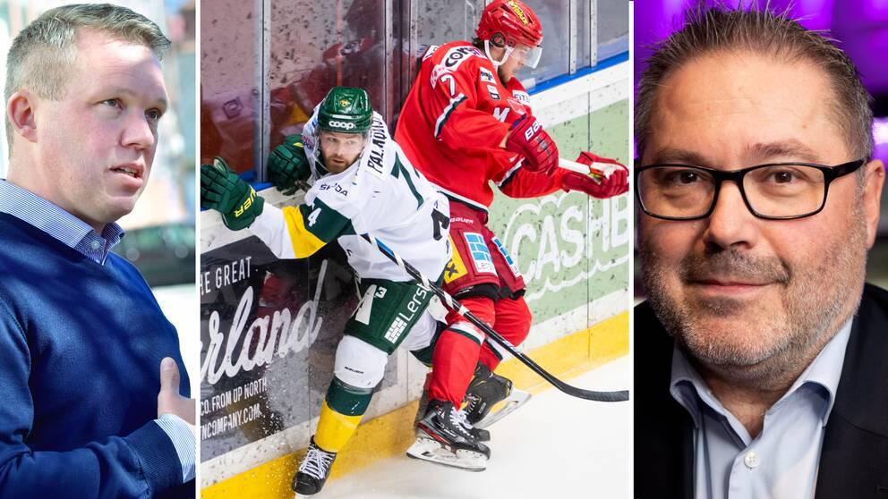 Stephan Guiance (till höger) är kritisk till hur Anders Larsson och Svenska ishockeyförbundet behandlar Hockeyallsvenskan.