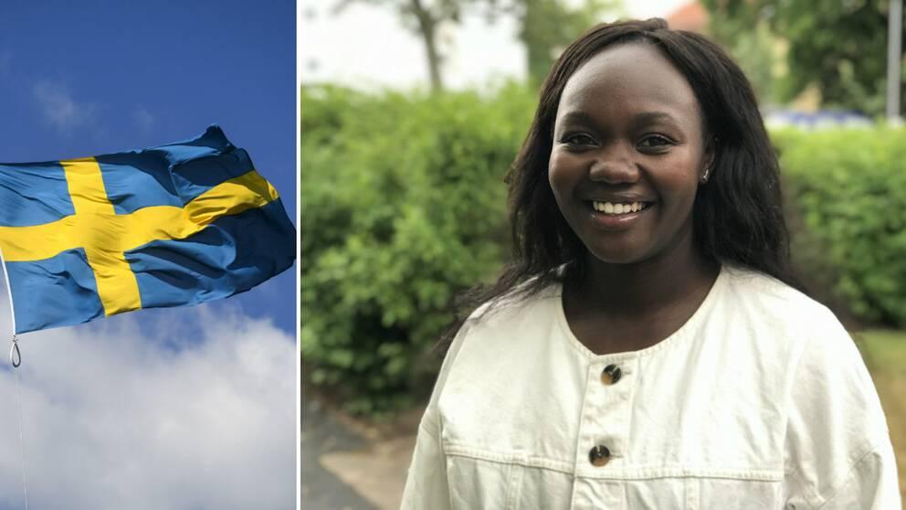 Faith Kakembo och en svensk flagga