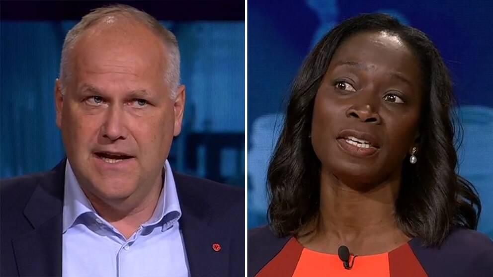 Sjöstedt (V) och Sabuni (L) under debatten.