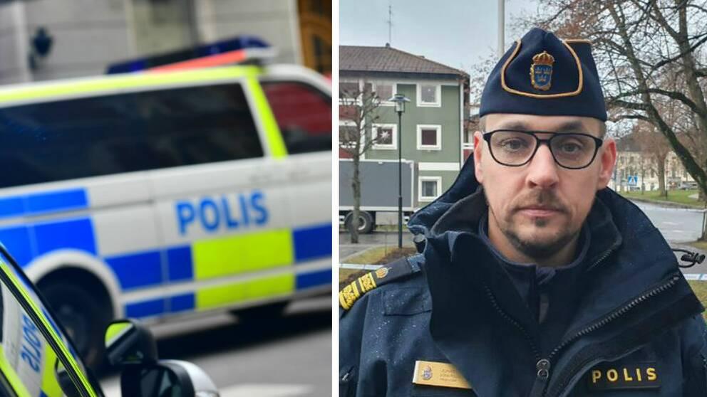 Delad bild där den ena bilden föreställer polisbilar och den andre en polis i uniform med glasögon och mössa.