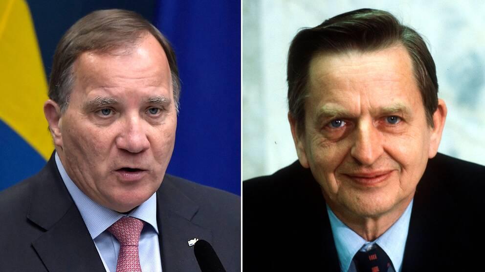 Statsminister Stefan Löfven (S) och Olof Palme