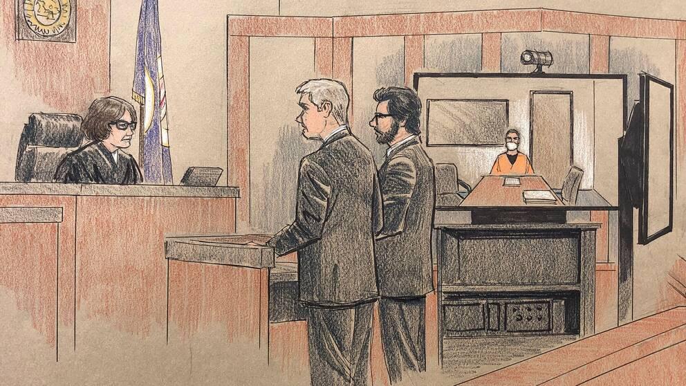 Dråpmisstänkta polismannen Derek Chauvin medverakde vid häktningsförhandlingen på videolänk från ett fängelse.