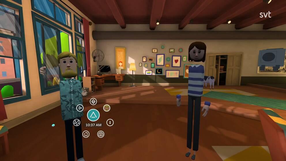 På bilden syns ett virtuellt rum med Fredrik Löfgrens avatar och reporterns avatar.