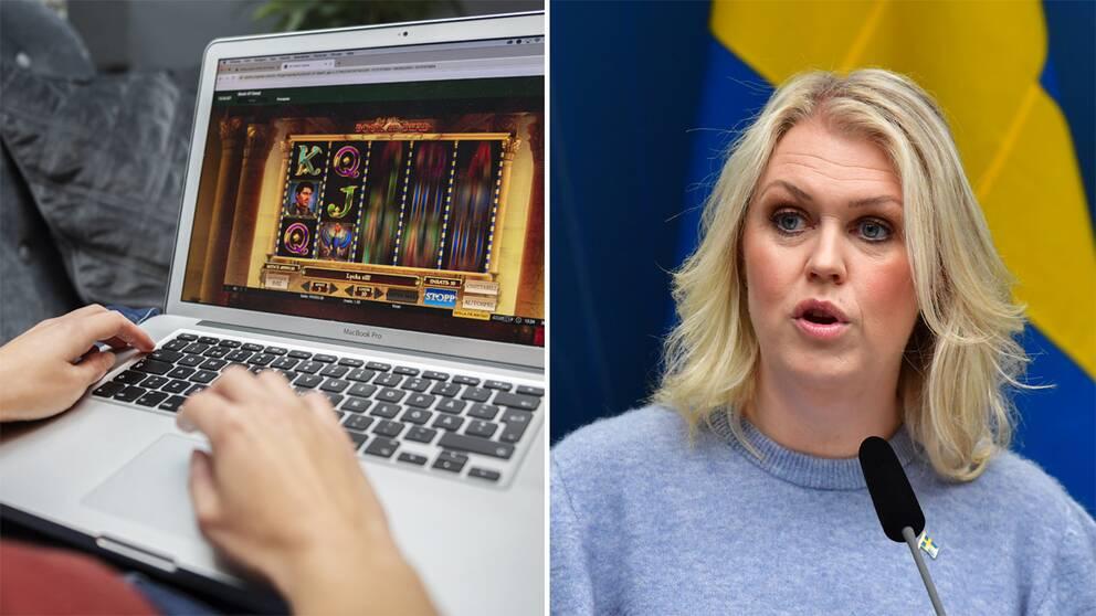 Bild på nätkasino och socialminister Lena Hallengren (S).