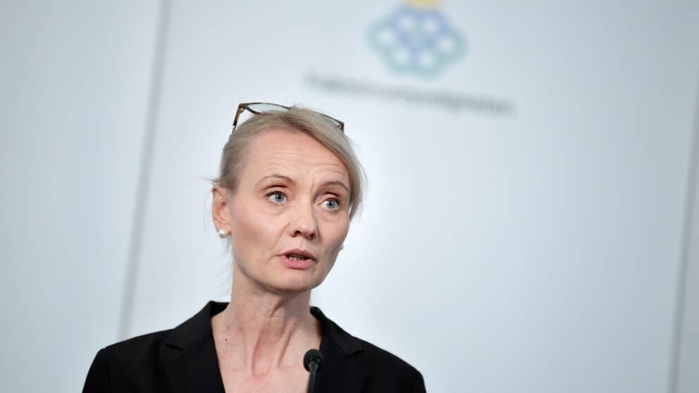Karin Tegmark Wisell, avdelningschef, Folkhälsomyndigheten, under torsdagens myndighetsgemensamma pressträff om covid-19.