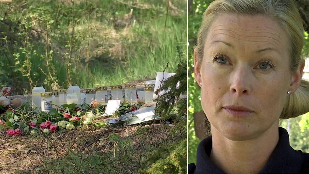Ljus på olycksplatsen och Alexandra Bergström.