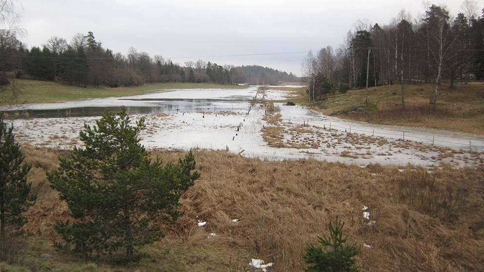Snösmältningen i söder gjorde att många åkrar förvandlades till tillfälliga sjöar, som här i Lemshaga på Ingarö utanför Stockholm den 27 februari.