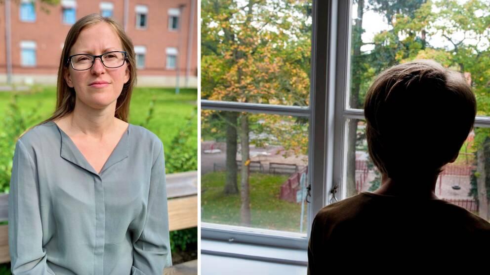 Collage bestående av två bildhalvor. Vänster: Lina Hedman på Region Gävleborg. Höger: En anonym bild på ett barn som tittar ut ur ett fönster.