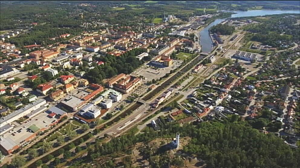 Flygfoto av Söderhamn.