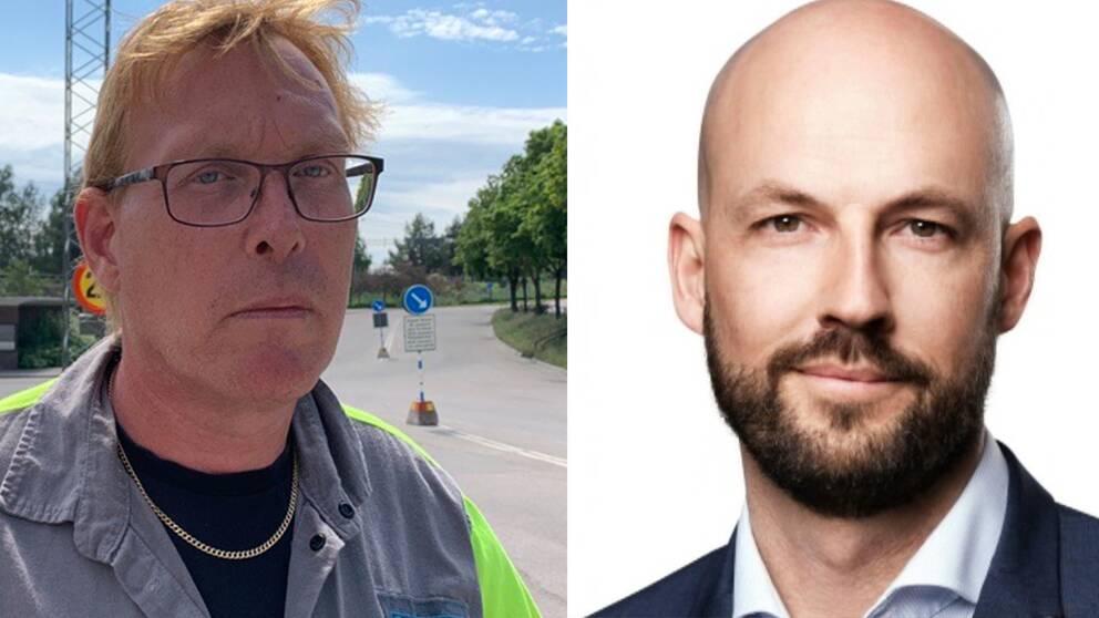 Tomas Kärnström, ordförande för IF Metall på Sandvik och presschef Martin Blomgren.