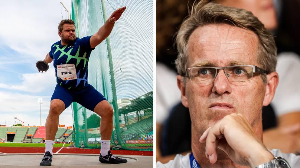 Daniel Ståhl och tränaren Vesteinn Hafsteinsson.