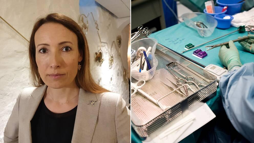 Heidi Stensmyren, ordförande i Läkarförbundet, menar attvårdskulden i Sverige är oroväckande stor – och det var den redan innan pandemin, menar hon. Montage med Stensmyren och ett operationsbord.
