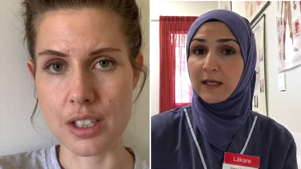 Selfie på sjuksköterskan Sofia Lindström respektive läkaren Sumaya Al-Shakarji.