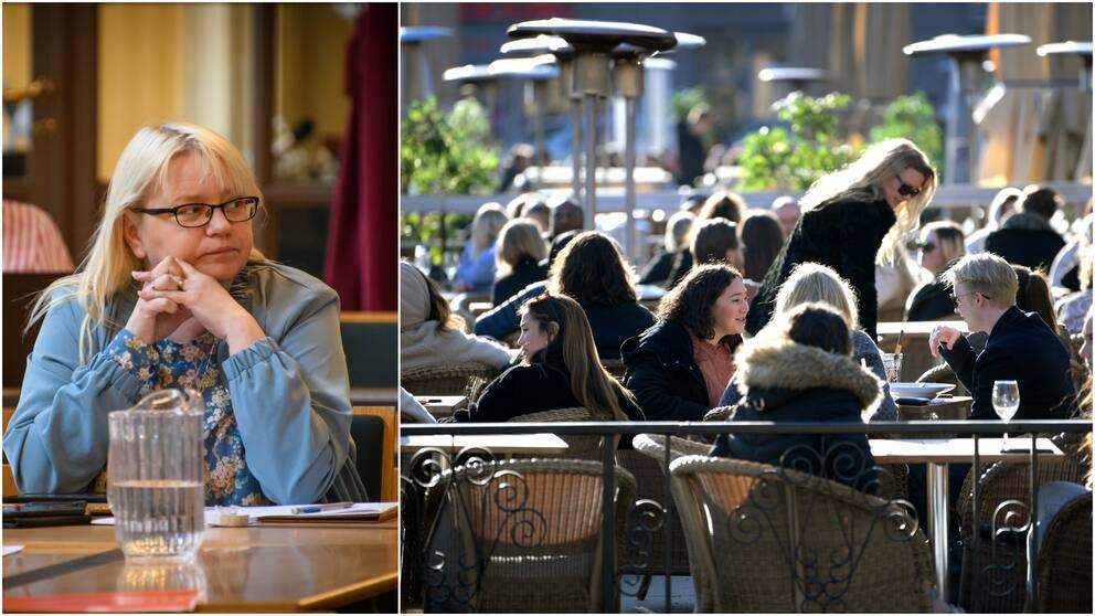 Helene Åkerlind (L) i bild till vänster, trängsel på restaurang i bild till höger.