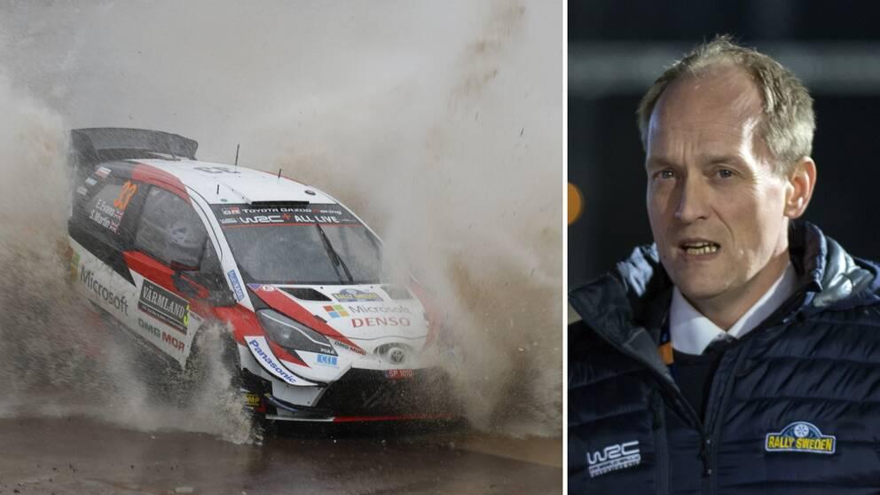Två bilder. Till vänster en rallybil som åker igenom en stor vattenpöl i årets upplaga av Svenska rallyt. Till höger rally-vd:n Glenn Olsson.