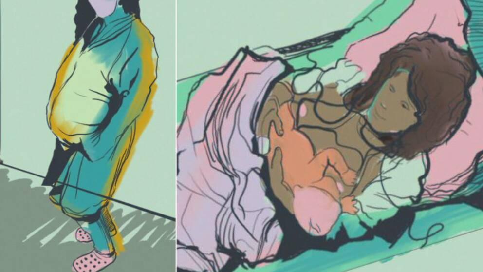 Två teckningar bredvid varandra, den till vänster visar en gravidmage, den till höger visar en kvinna som nyligen fått upp sitt nyfödda barn på bröstet.