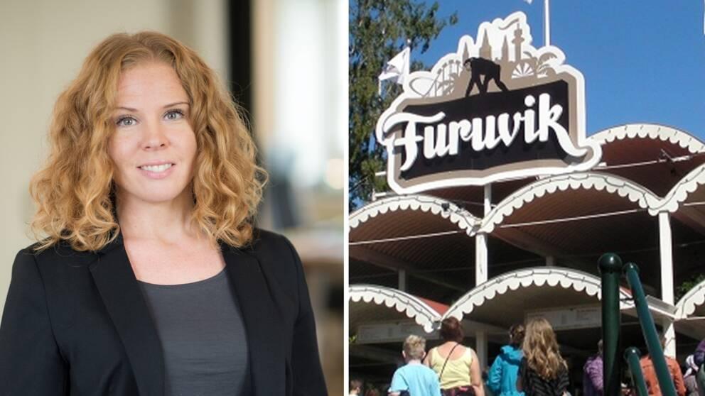 Bilden är ett collage. Vänster bildhalva: Porträttfoto på Parks and Resorts informationschef Annika Troselius. Höger bildhalva: Furuviksparkens entré.