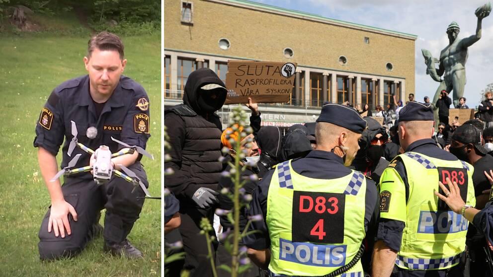 Daniel Ek demonstrerar en drönare som kommer att få en allt större betydelse i Göteborg, efter Black Lives Matter-demonstrationen som nyligen urartade.