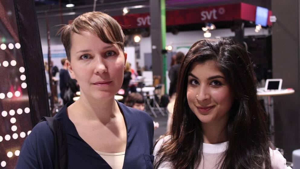 Rättviseförmedlingens Frida Mörtsell och Soraya Hashim på plats på Mediedagarna i Göteborg.