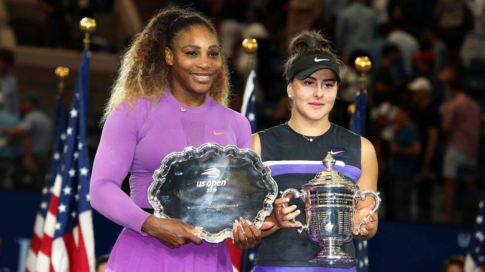 Serena Williams och Bianca Andreescu efter finalen i US Open, september 2019.