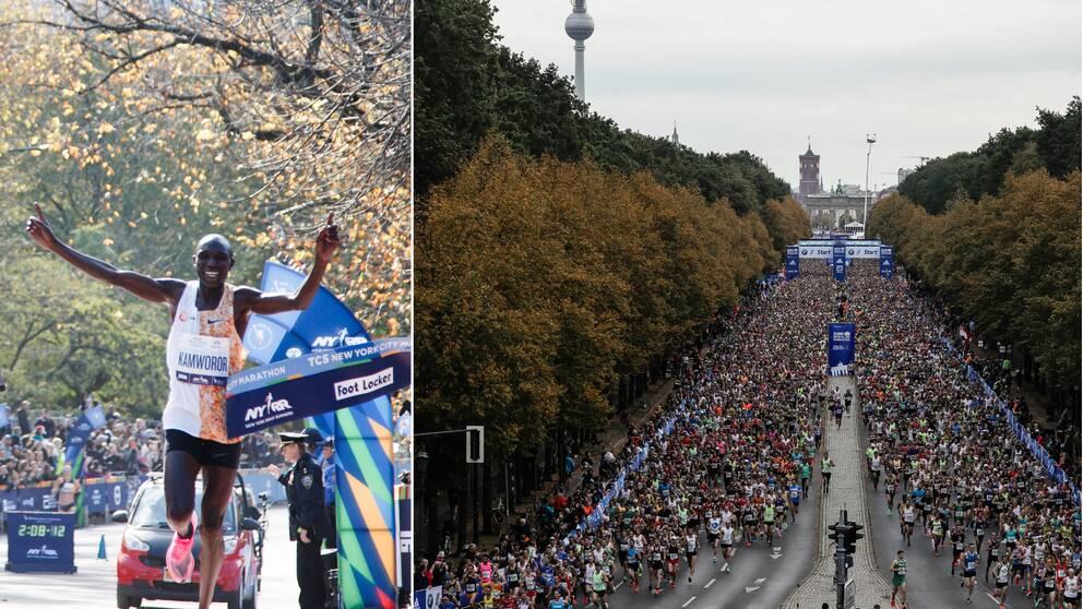 Varken New York Marathon (till vänster) eller Berlin Marathon (höger) kommer avgöras 2020.