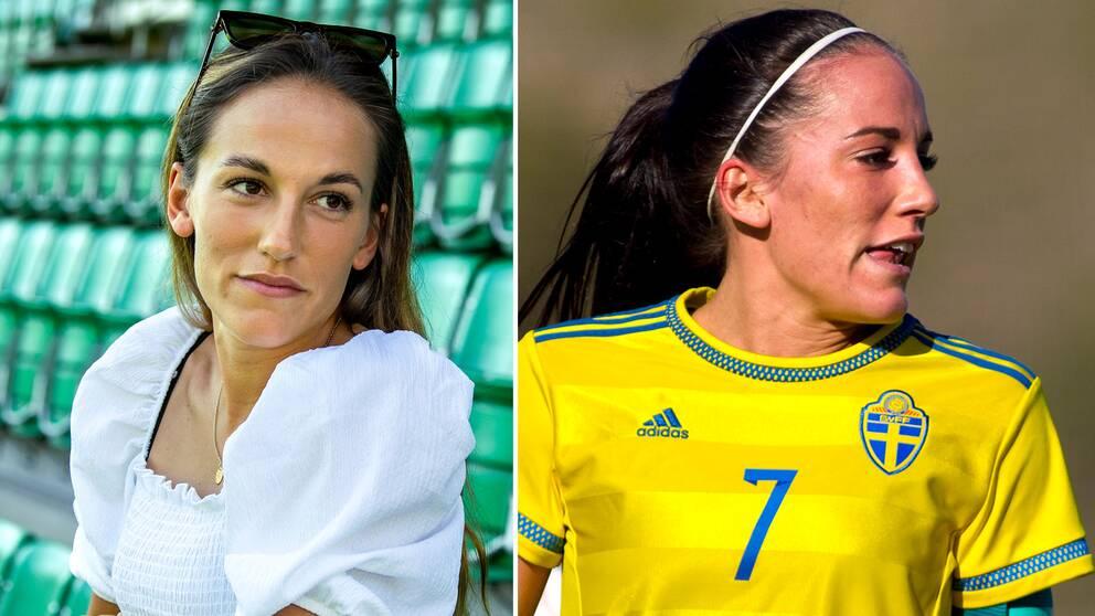 Anna Oscarsson i intervju med TT och i landslagströjan.