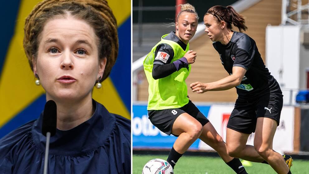Idrottsminister Amanda Lind samt Hanna Bennison och Jessica Samuelsson under en fotbollsträning med FC Rosengård.