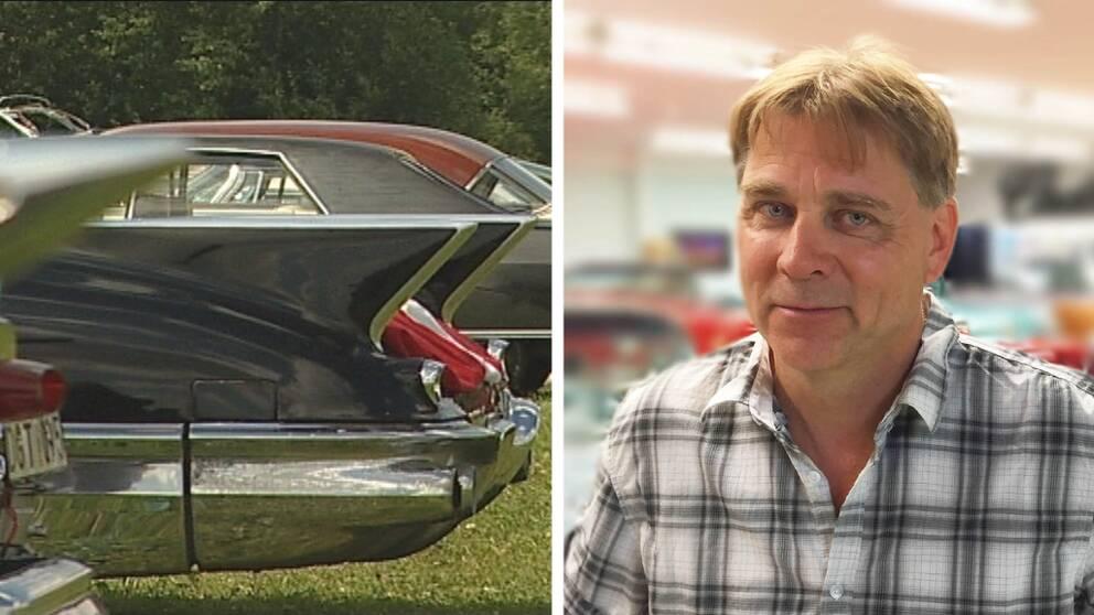 Tvådelad bild. Till vänster bakdelen av en amerikansk veteranbil. Till höger porträtt på Klas Brink.