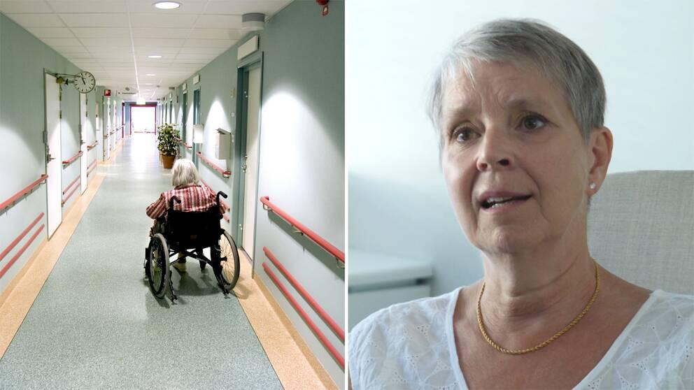 Kvinna i rullstol och Margareta Söderström, volontär på Mind.