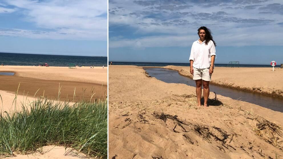 Kvinna står på strand med vattendrag bakom sig som mynnar ut i havet