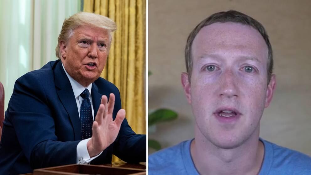Hör Facebooks Mark Zuckerberg (t.h) förklara de nya förändringarna. T.v Donald Trump när han skrev under en presidentorder i protest mot att Twitter flaggat för hans tweets.