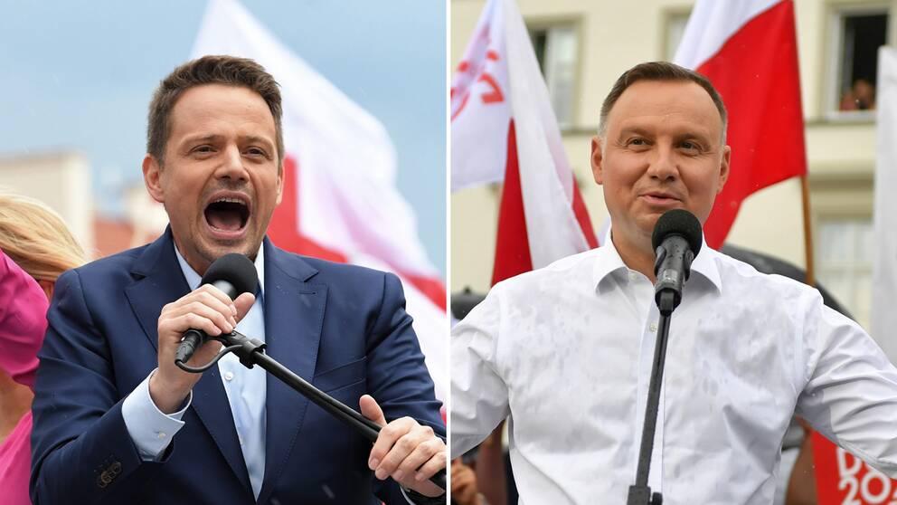 Warszawas borgmästare, den liberale Rafal Trzaskowski och den nuvarande president Andrzej Duda från partiet Lag och Rättvisa.