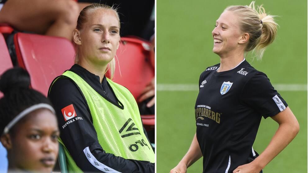 Från sin bänkposition fick Stina Blackstenius se Rebecka Blomqvist göra två mål.