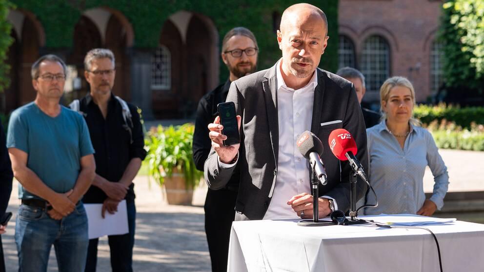 Danmarks social- och äldreminister Magnus Heunicke (S) när han presenterade Danmarks officiella covid-19 smittspårningsapp den 18 juni 2020.