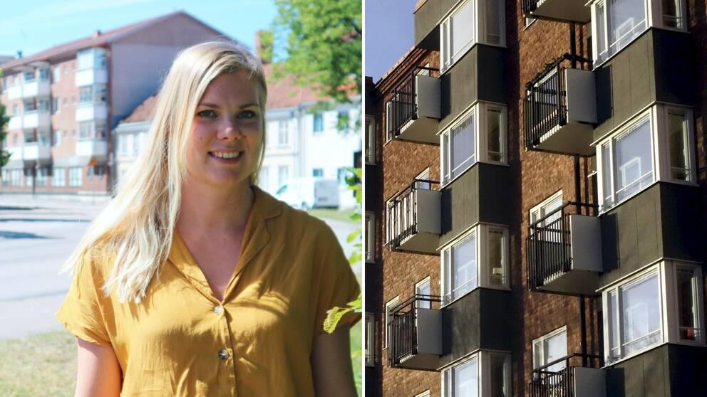 blond kvinna med gul tröja står i ett bostadsområde