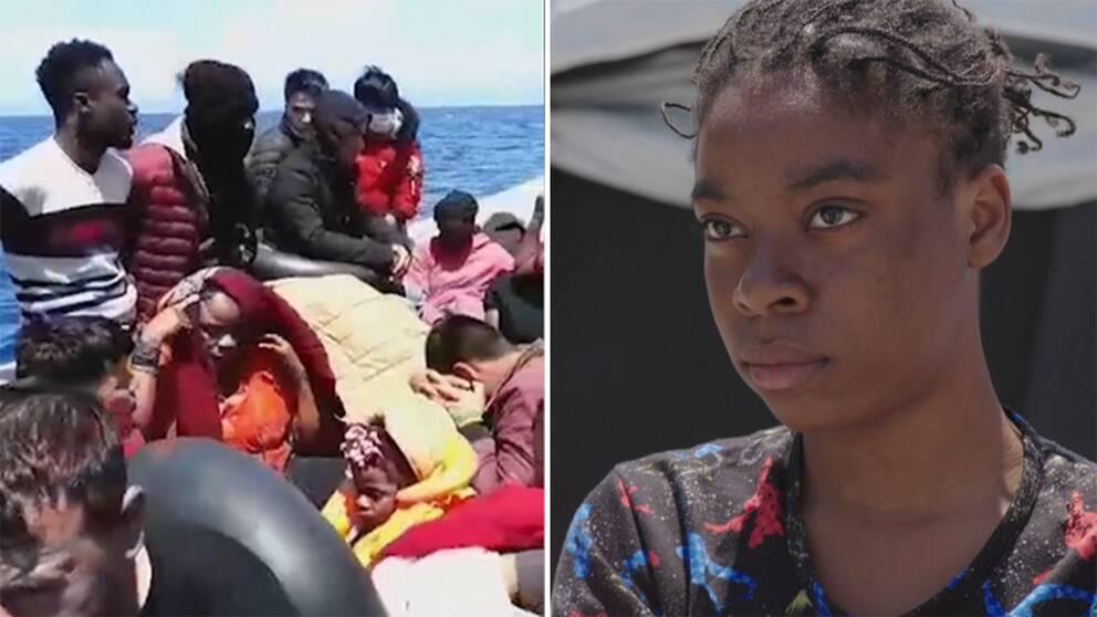Till höger en bild från den överfulla gummibåten Karen kom till Lesbos med. Till höger en närbild på Karen Bunga.