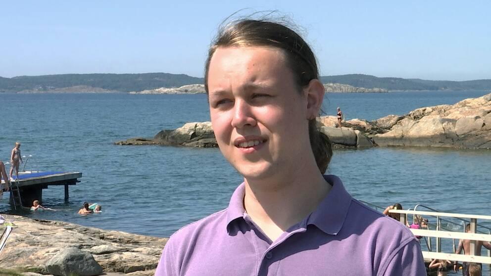 Hampus Haugland, 19, vid ett klippbad.