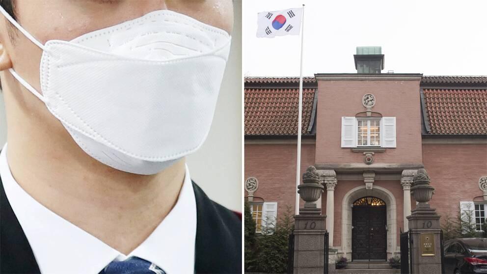 Man med munskydd och Sydkoreas ambassad på Laboratoriegatan i Stockholm.